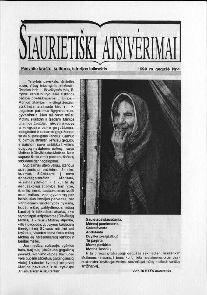 Šiaurietiški atsivėrimai : Pasvalio krašto kultūros, istorijos laikraštis 1999, nr. 4