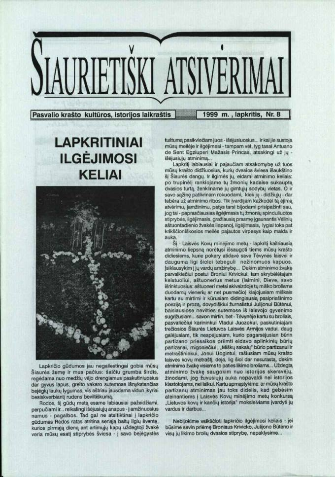 Šiaurietiški atsivėrimai : Pasvalio krašto kultūros, istorijos laikraštis  1999, nr. 8
