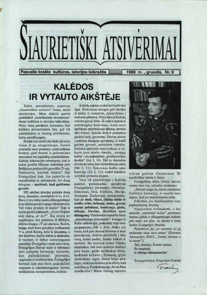 Šiaurietiški atsivėrimai : Pasvalio krašto kultūros, istorijos laikraštis 1999, nr. 9