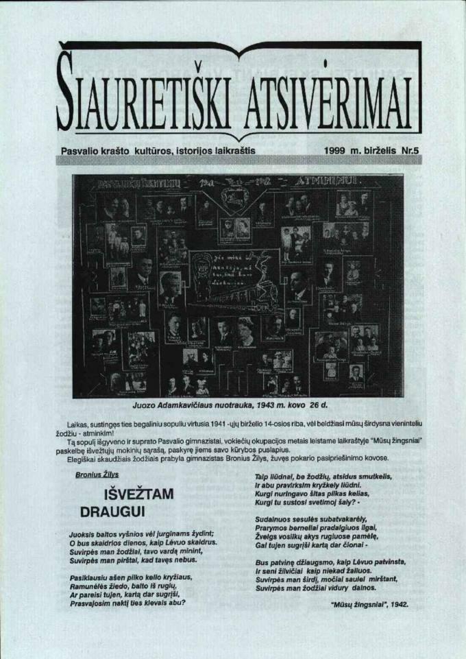 Šiaurietiški atsivėrimai : Pasvalio krašto kultūros, istorijos laikraštis 1999, nr. 5