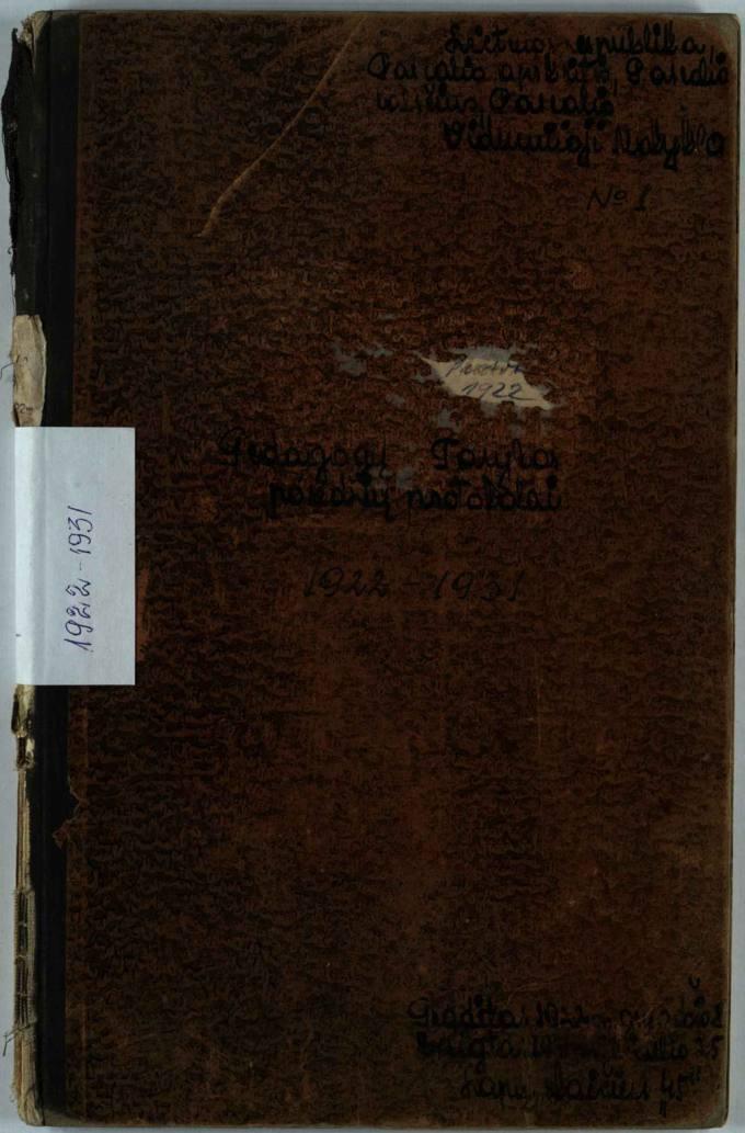 Pasvalio viduriniosios mokyklos 1922–1931 metų Pedagogų Tarybos posėdžių protokolai