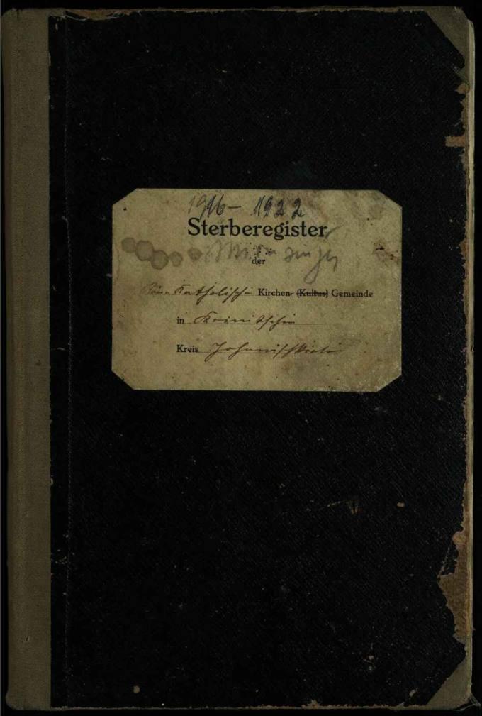 Krinčino Romos katalikų parapijos bažnyčios 1916–1922 metų mirties metrikų knyga
