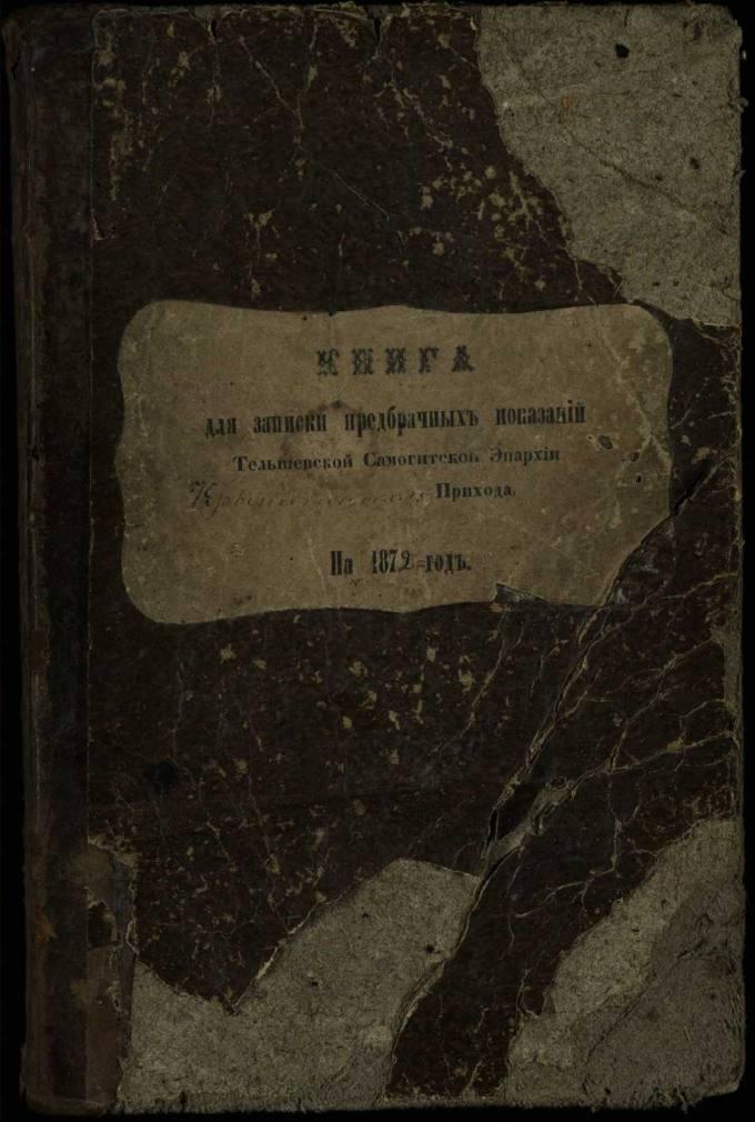 Krinčino Romos katalikų parapijos bažnyčios 1872–1881 metų priešjungtuvinės apklausos knyga