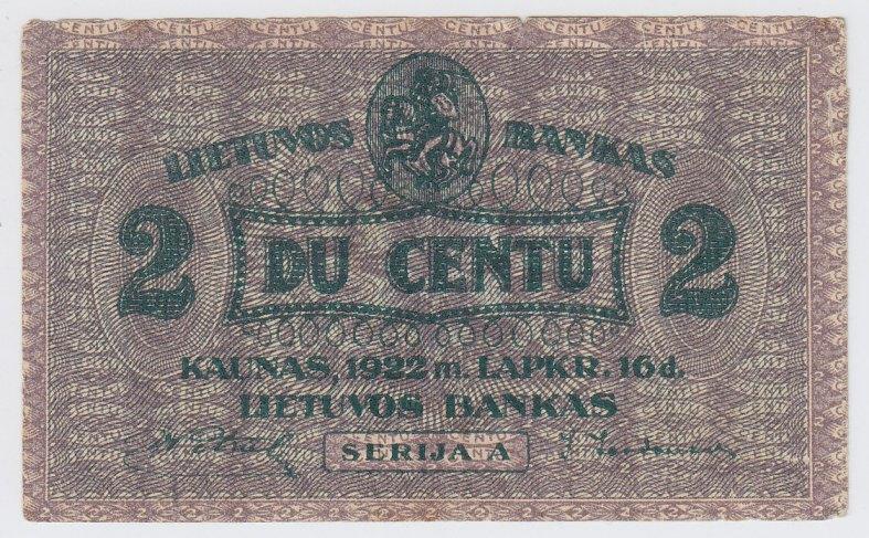 Banknotas. 2 centai. 1922 m. lapkričio 16 d. Lietuva