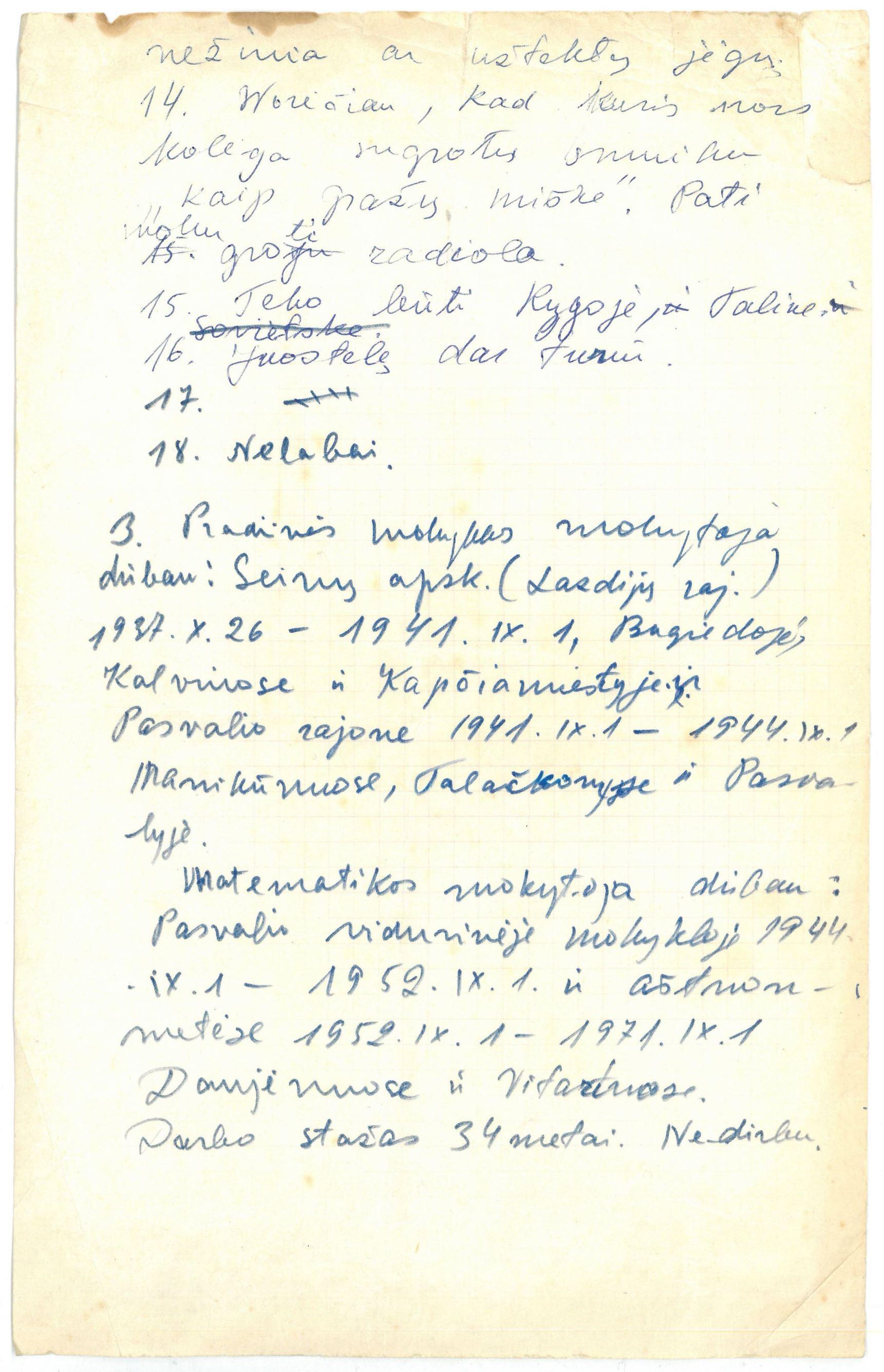 Elizabetos Avižonytės-Vaitkienės ranka rašytas tekstas, kuriame ji išvardija savo darbovietes