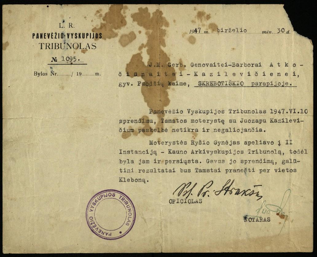 Panevėžio Vyskupijos tribunolo galutinis sprendimas Genovaitės-Barboros Atkočiūnaitės-Kazilevičienės, gyv. Puodžių k., Skrebotiškio parapijoje, ir Juozapo Kazilevičiaus santuokos netikrumo byloje, 1947 m. birželio 30 d.