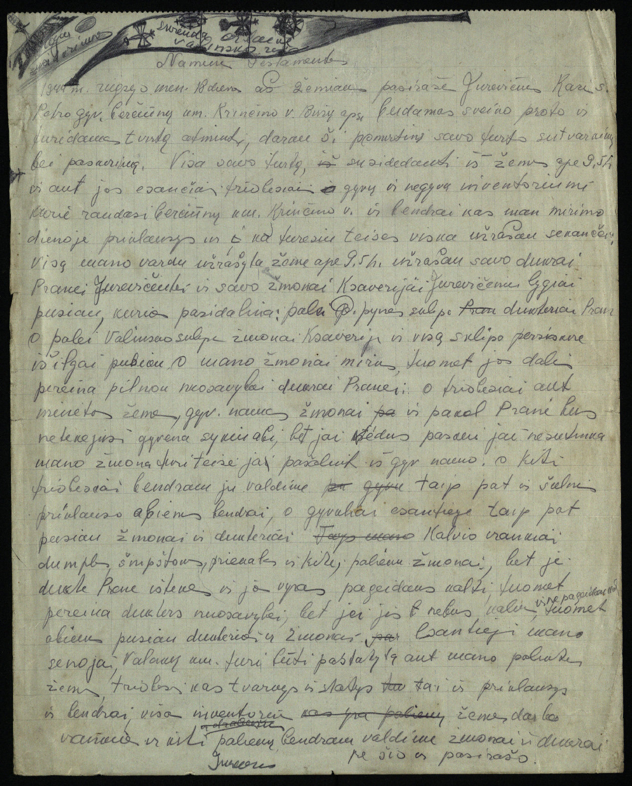 Biržų apskrities Krinčino valsčiaus Berčiūnų kaimo gyventojo Kazio Jurevičiaus naminis testamentas, 1944 m.