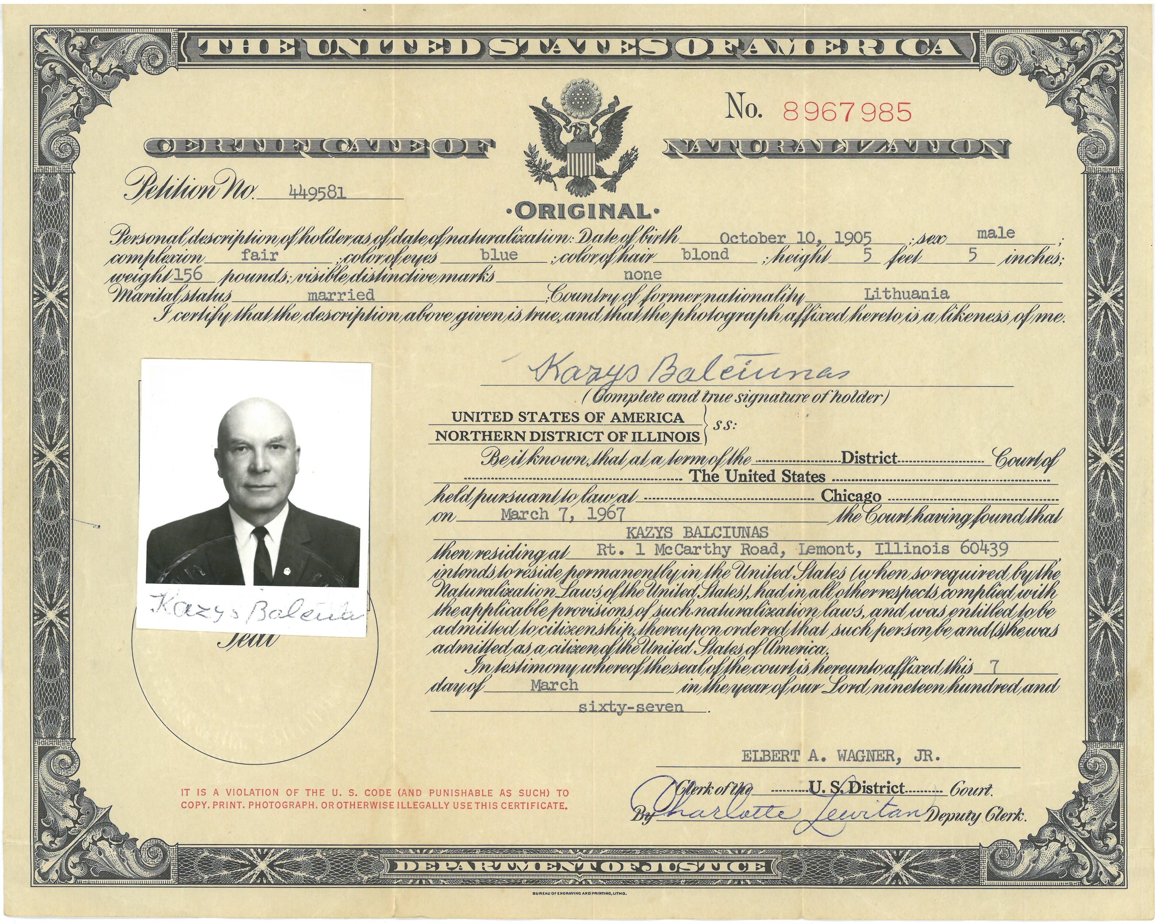 Pilietybės suteikimo užsienio valstybės piliečiui  sertifikatas, išduotas Kaziui Balčiūnui. JAV, 1967 m.