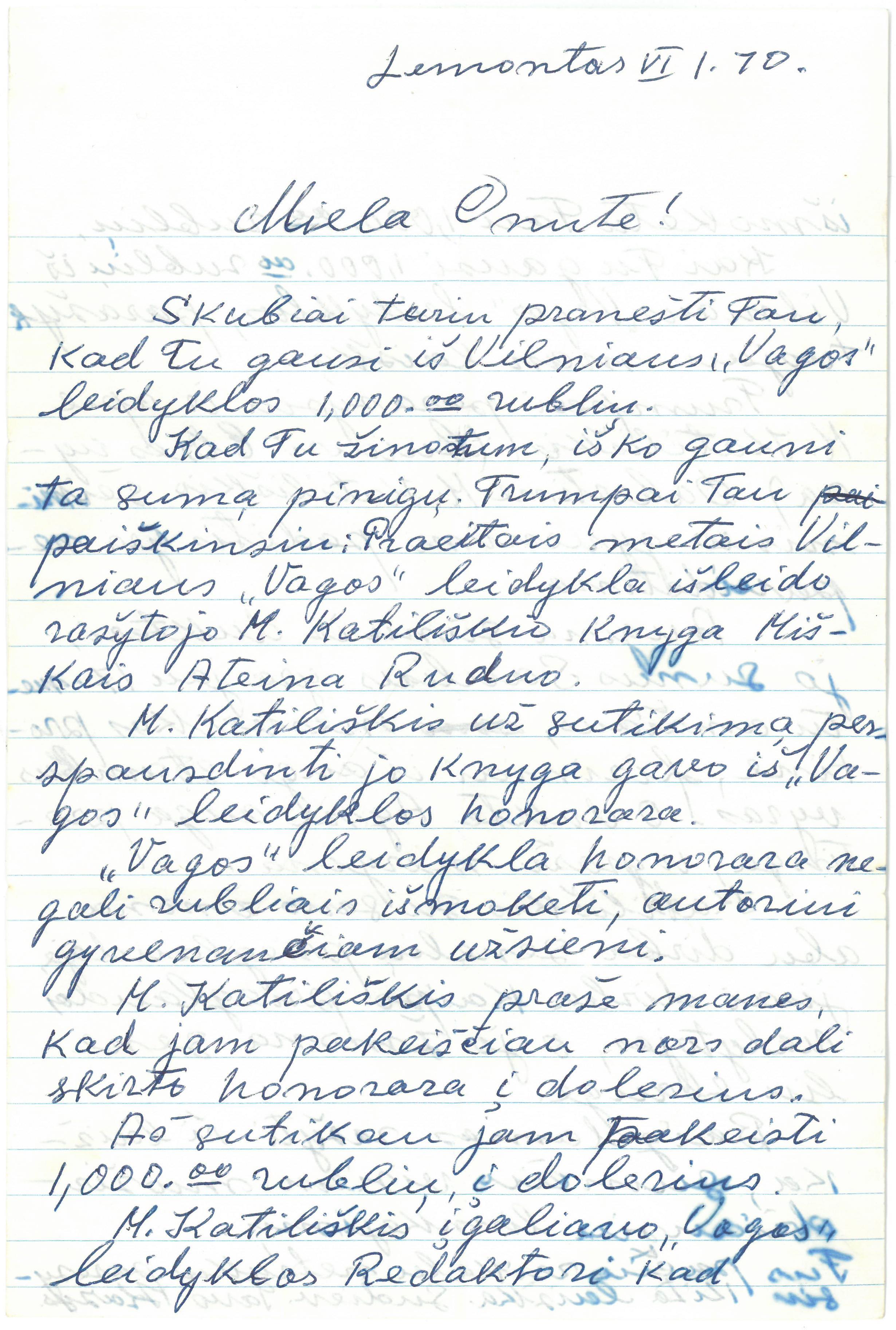 Kazio Balčiūno laiškas žmonai Onai Balčiūnienei. 1970 m. birželio 1 d.