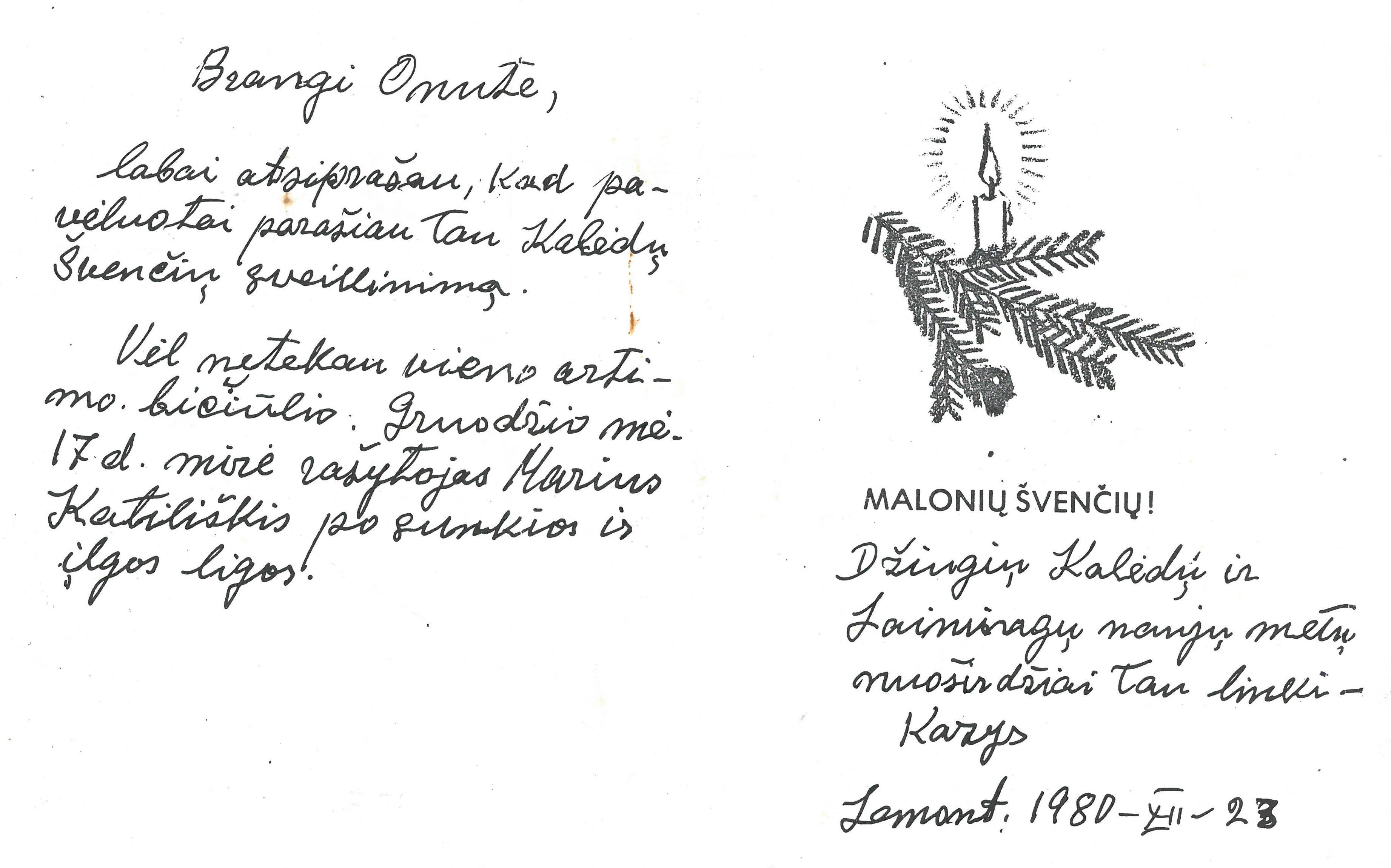 Kazio Balčiūno kalėdinis sveikinimas (kopija) žmonai Onai Balčiūnienei. 1980 m. gruodžio 23 d.
