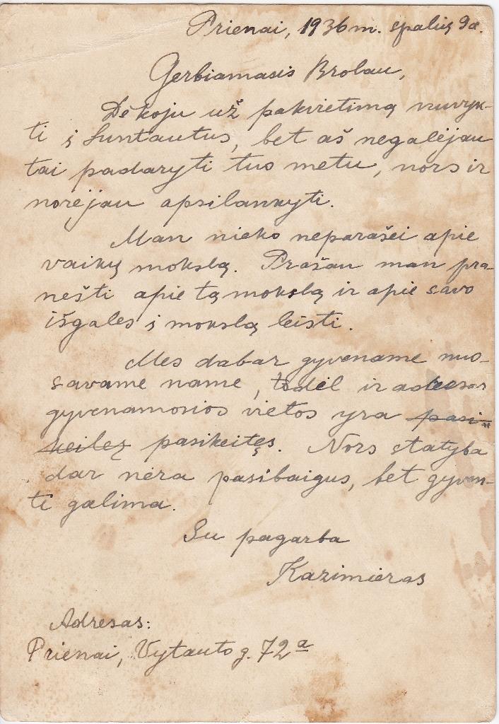 Kazimiero Žagrakalio laiškas Antanui Žagrakaliui, 1936 m.