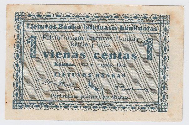 Laikinasis banknotas. 1 centas. 1922 m. rugsėjo 10 d. Lietuva