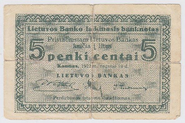 Laikinasis banknotas. 5 centai. 1922 m. rugsėjo 10 d. Lietuva