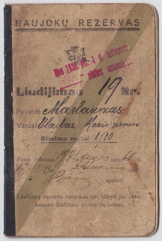 Vlado Maslausko Naujokų rezervo liudijimas, 1931 m.