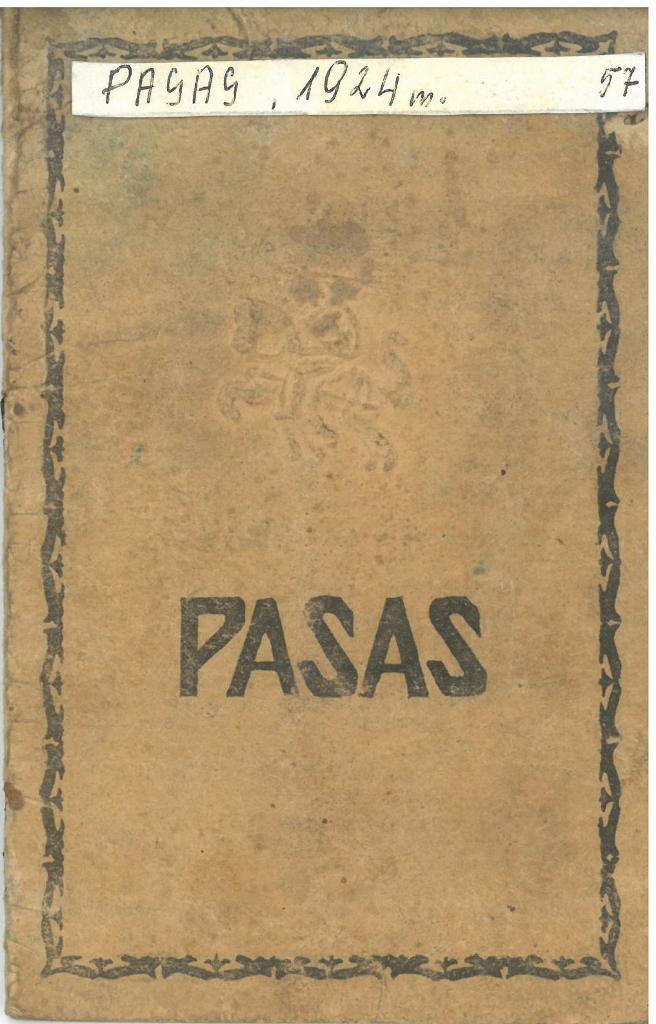 Biržų-Pasvalio apskr. Vaškų vlsč. Vainikonių k. [dabar – Vainekoniai] gyventojo Antano Markevičiaus pasas, išduotas 1924 m. sausio 7 d. Paso Nr. 848873.