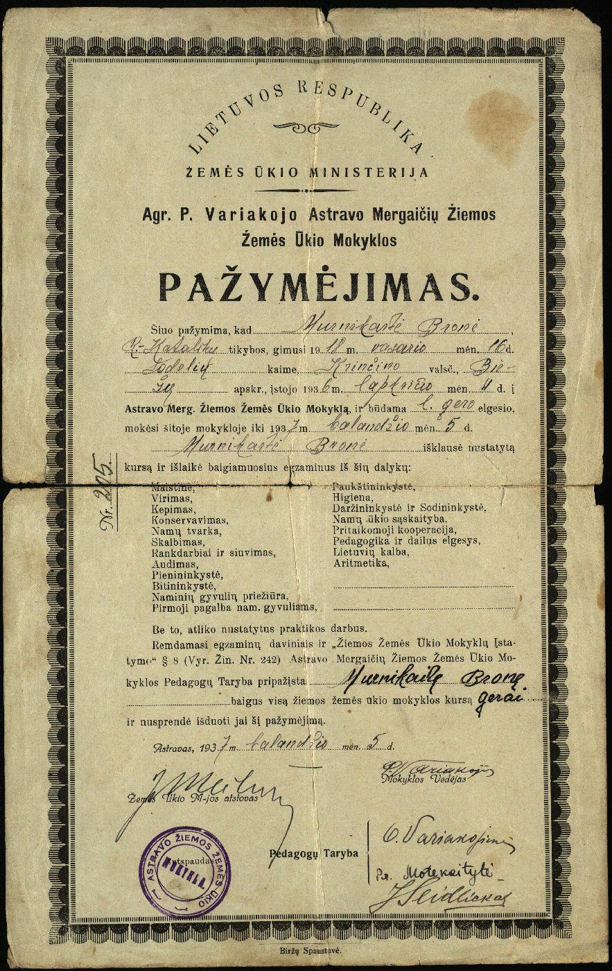 Agronomo P. Variakojo Astravo Mergaičių Žiemos žemės ūkio mokyklos pažymėjimas, išduotas Bronei Murnikaitei, 1937 m.
