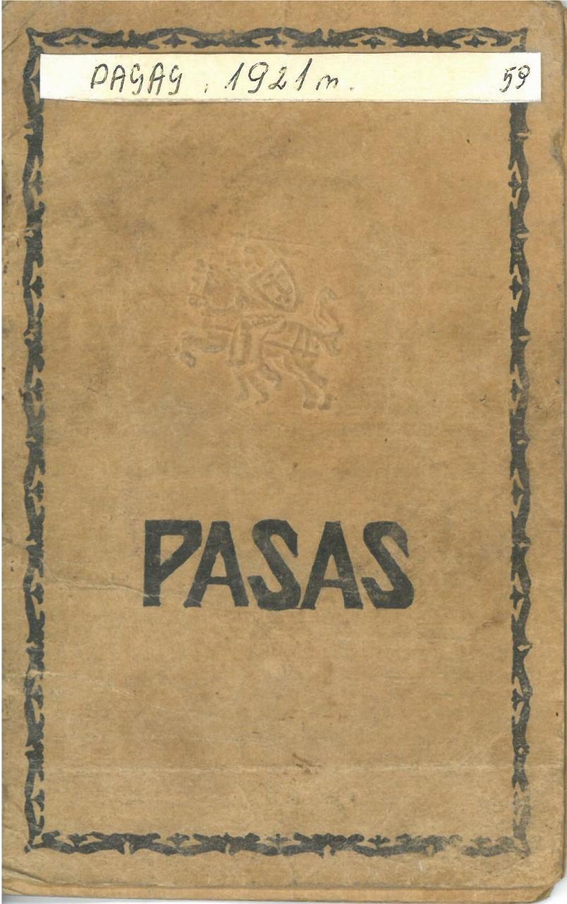 Pasvalio apskr. Vaškų vlsč. Vainikonių k. [dabar – Vainekoniai] gyventojo Kazio Morkevičiaus pasas, išduotas 1921 m. rugsėjo 26 d. Paso Nr. 527383.