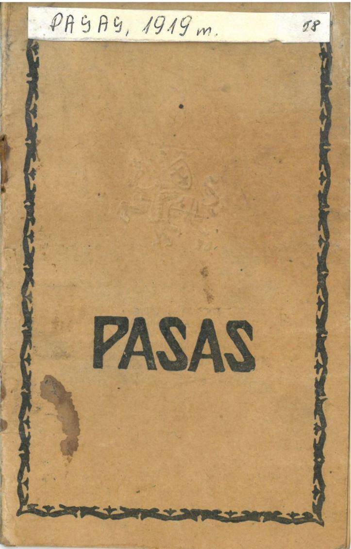 Pasvalio apskr. Vaškų vlsč. Vainikonių k. [dabar – Vainekoniai] gyventojos Onos Morkevičienės-Žemaitytės pasas, išduotas 1922 m. spalio 19 d. Paso Nr. 645592.