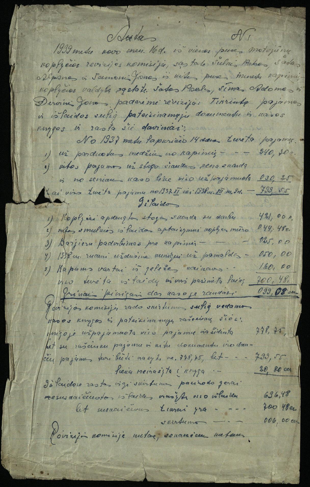 Motiejūnų koplyčios revizijos komisijos aktas, 1939 m.