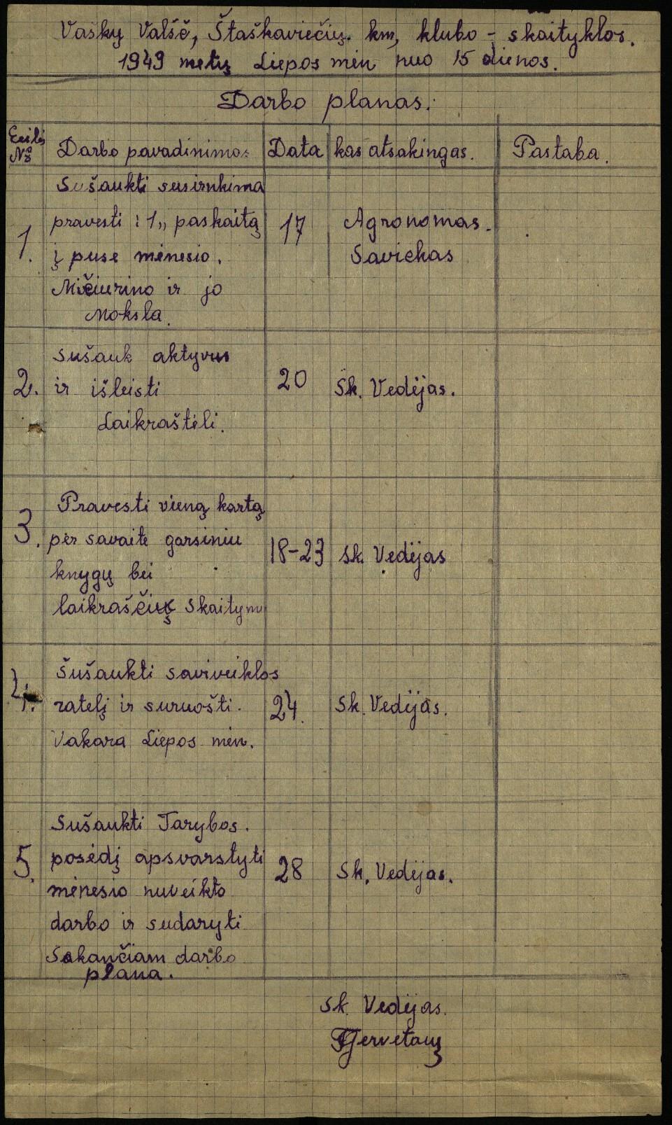 Vaškų vlsč. Staškavičių k. klubo-skaityklos darbo planas, 1949 m. nuo liepos 15 d.