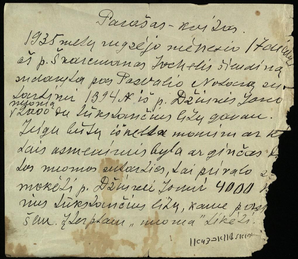 Jochelio Švarcmano parašas-kvitas, 1935 m.