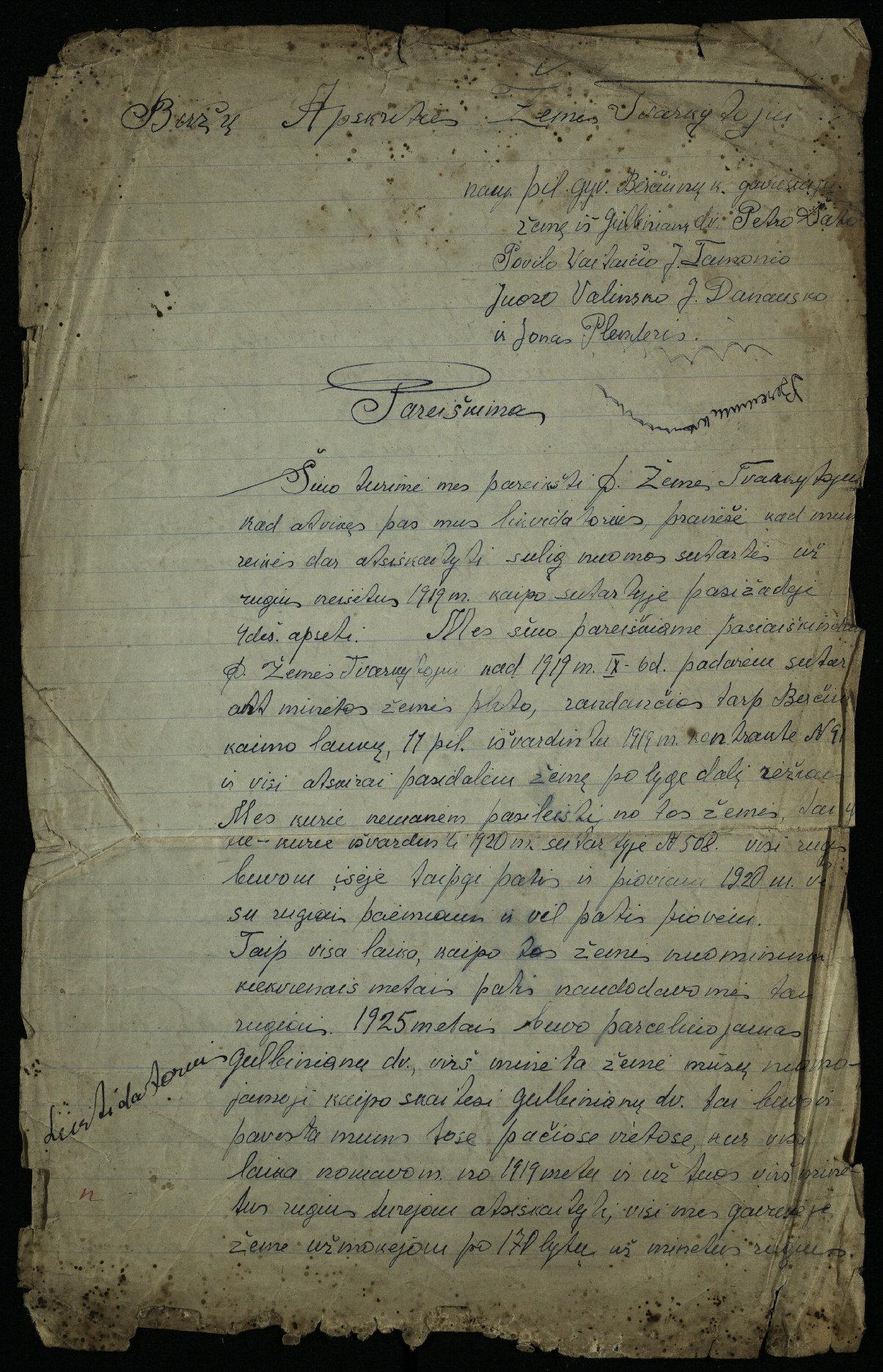 Biržų apskrities Krinčino valsčiaus Berčiūnų kaimo gyventojų pareiškimas Biržų apskrities žemės tvarkytojui, 1929 m.