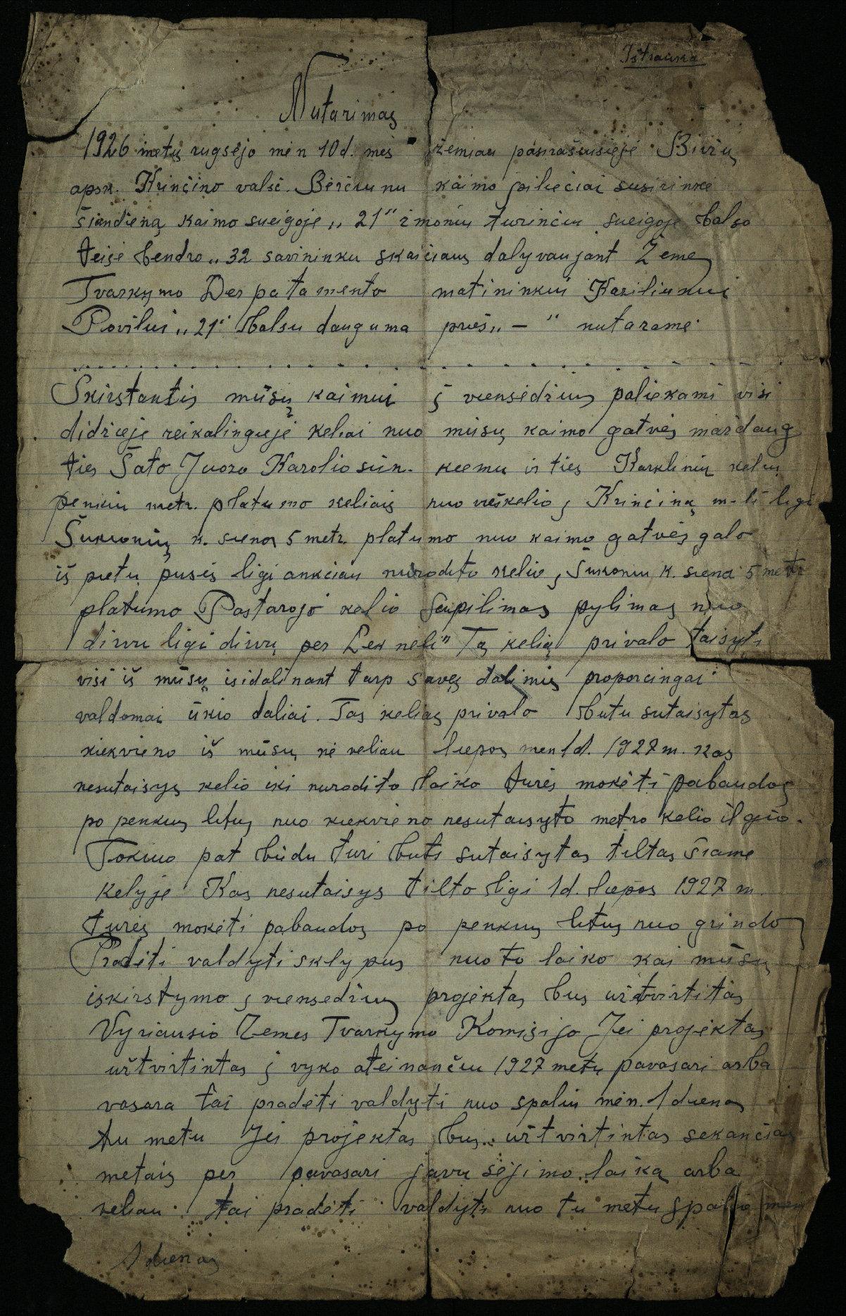 Biržų apskrities Krinčino valsčiaus Berčiūnų kaimo piliečių nutarimas, 1926 m.