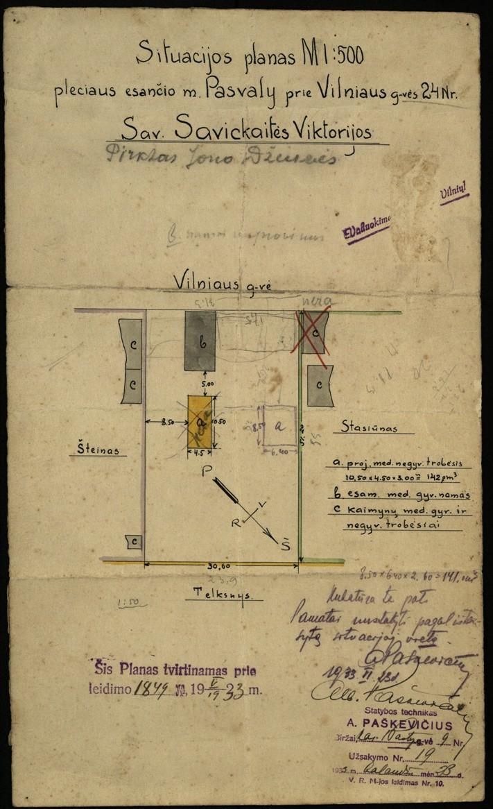 Viktorijos Savickaitės žemės sklypo, esančio Pasvalyje, Vilniaus g. 24, situacijos planas. 1933 m.