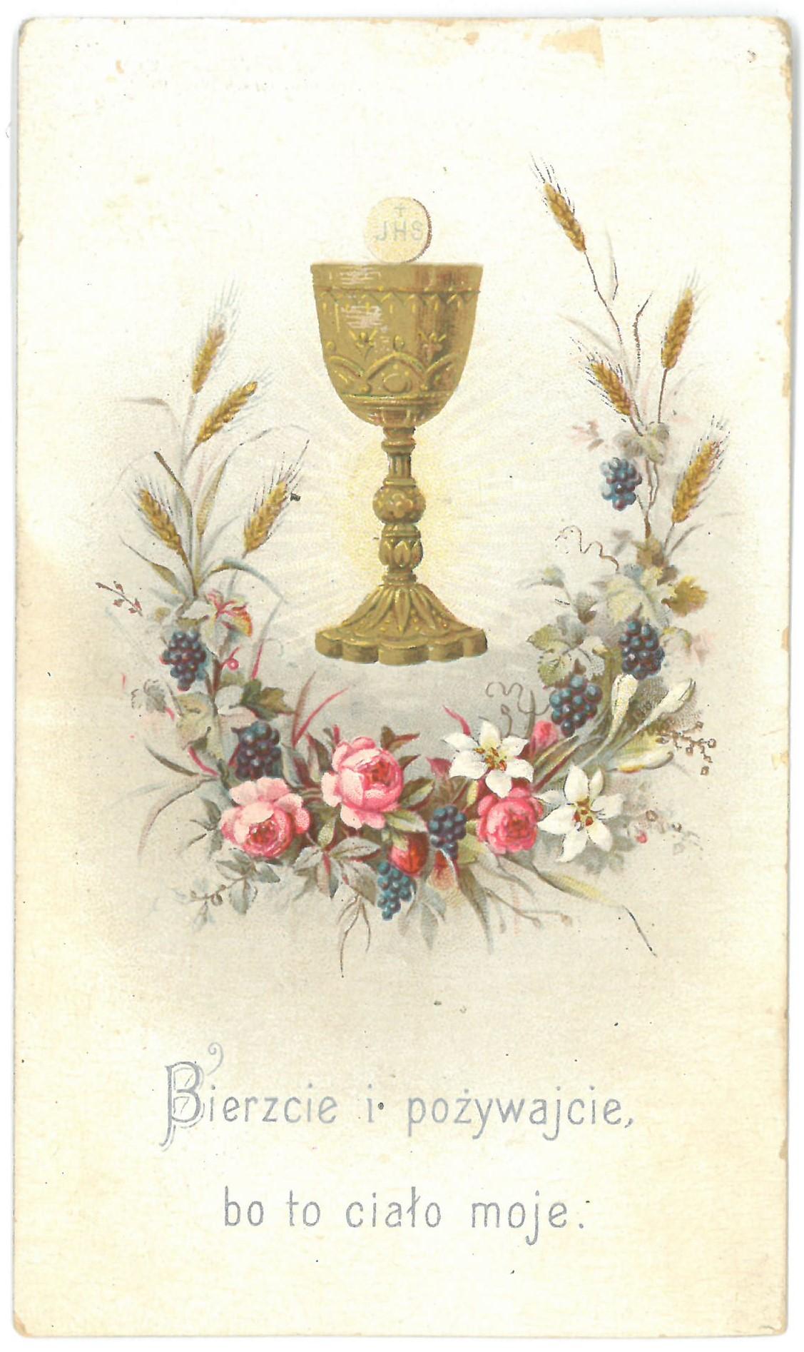 Religinis paveikslėlis. Taurė su Ostija