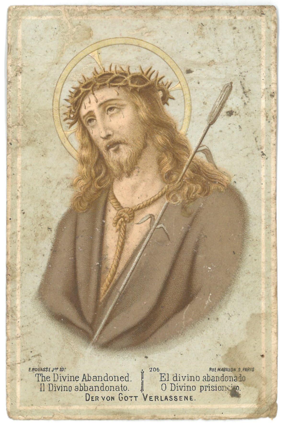 Religinis paveikslėlis. Jėzus Kristus su erškėčių vainiku ant galvos