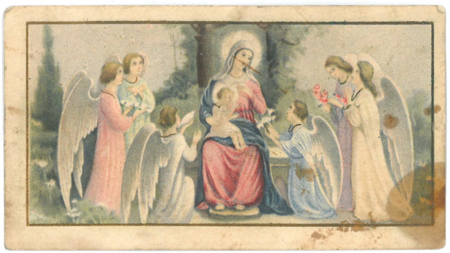 Religinis paveikslėlis. Švč. Mergelė Marija ir Kūdikis su angelais