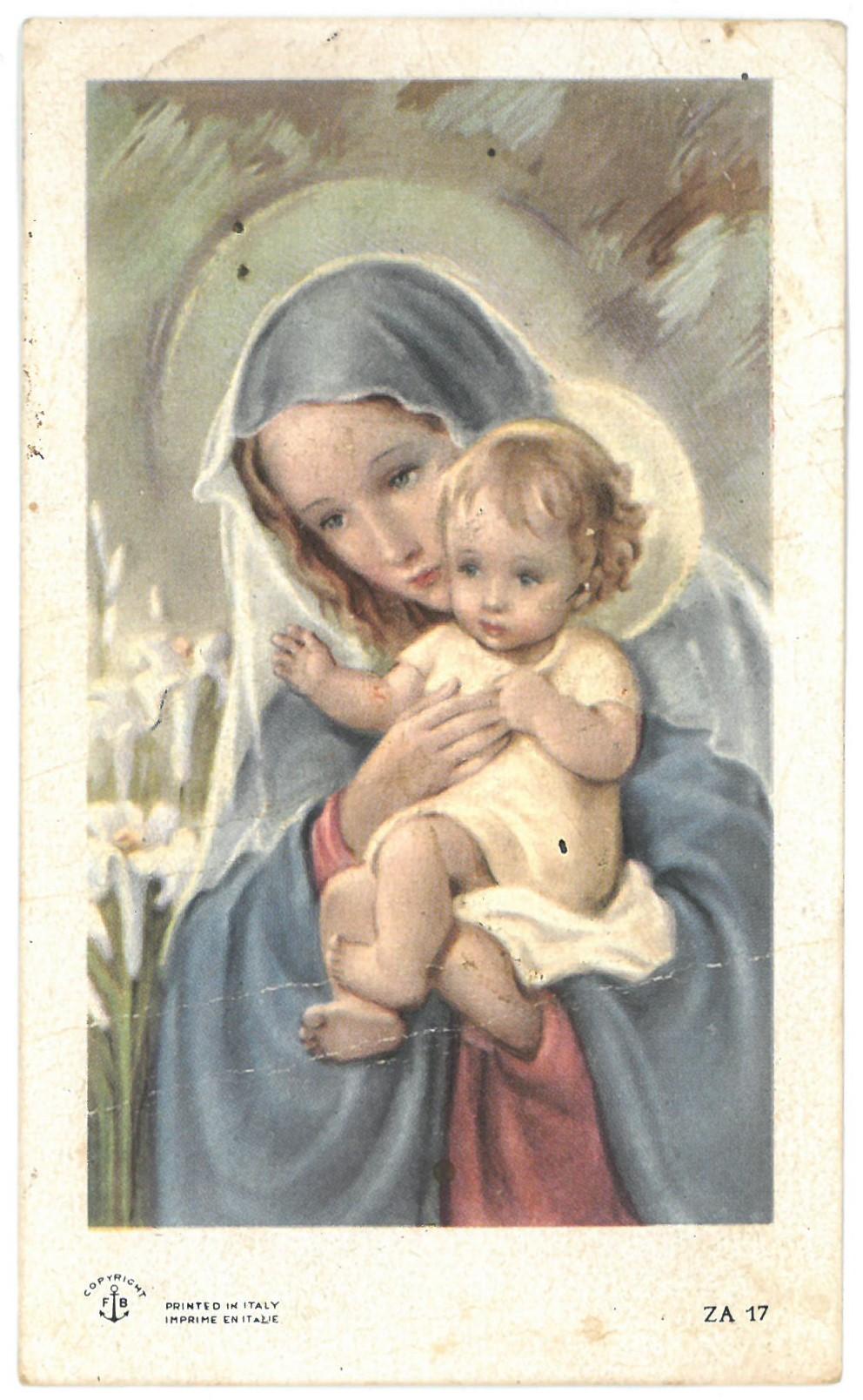 Religinis paveikslėlis. Švč. Mergelė Marija su Kūdikiu ant rankų