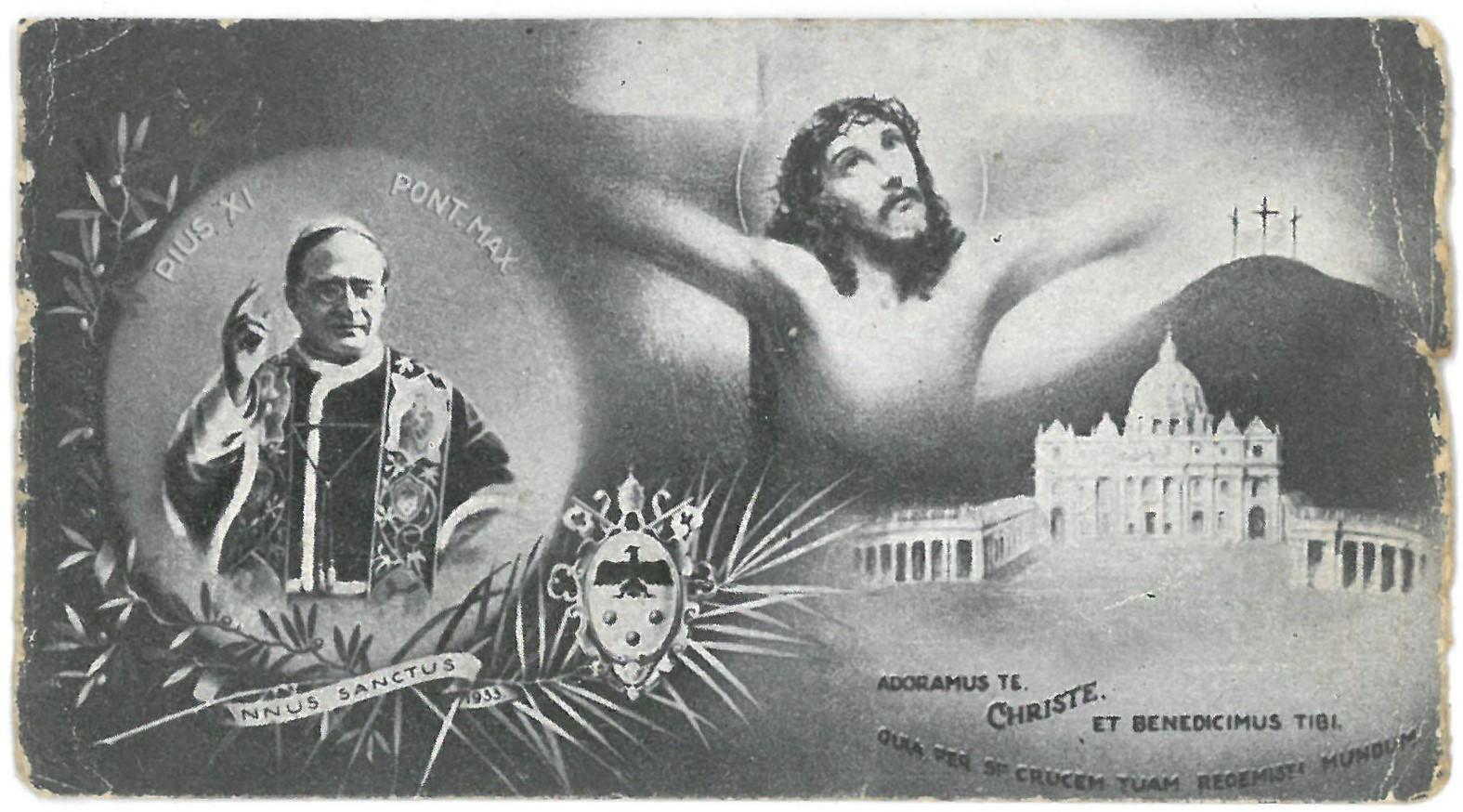 "Religinis paveikslėlis. ""Pius XI. Pont. Max. Annus Sanctus 1933"""