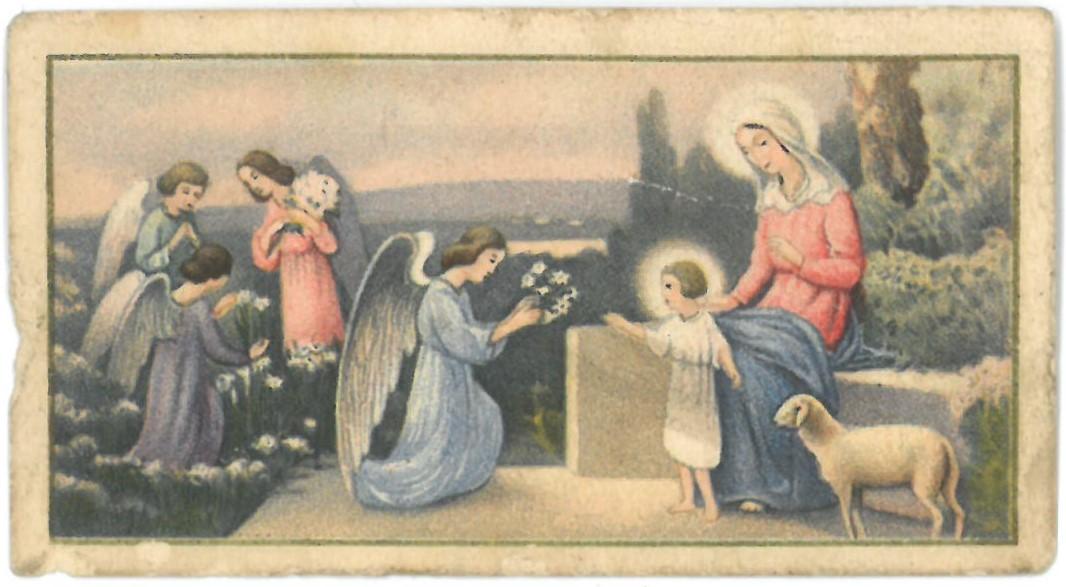 Religinis paveikslėlis. Kūdikėlis Jėzus. Kitoje paveikslėlio pusėje yra serijos Nr. 6203.