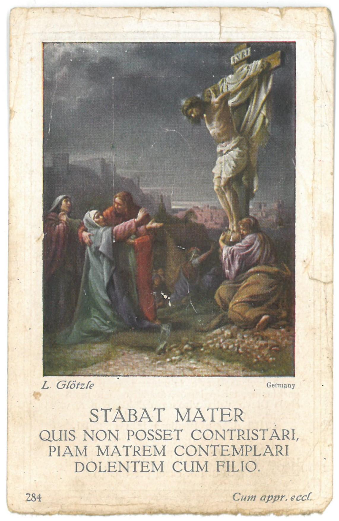 Religinis paveikslėlis. Jam panaudota vokiečių tapytojo Ludwig Glötzle paveikslo kopija