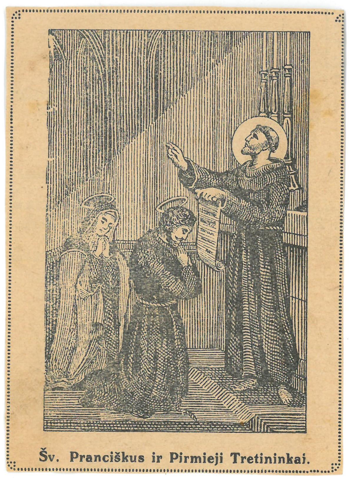 """Religinis paveikslėlis. """"Šv. Pranciškus ir Pirmieji Tretininkai"""""""