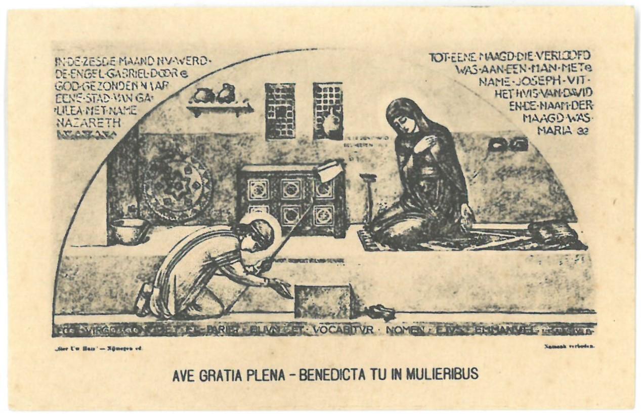 """Religinis paveikslėlis. """"Ave gratia plena – benedicta tu in mulieribus"""""""
