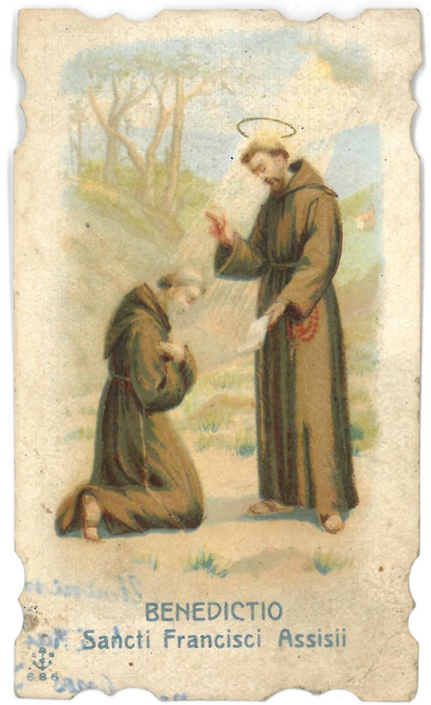 "Religinis paveikslėlis. ""Benedictio. Sancti Francisci Assisii"""