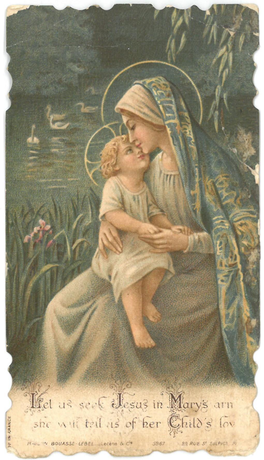 """Religinis paveikslėlis. Švč. Mergelė Marija su Kūdikiu. Kitoje paveikslėlio pusėje yra antspaudas: """"Atminimui mano. Kun. Magnus J. Kazėnas"""""""