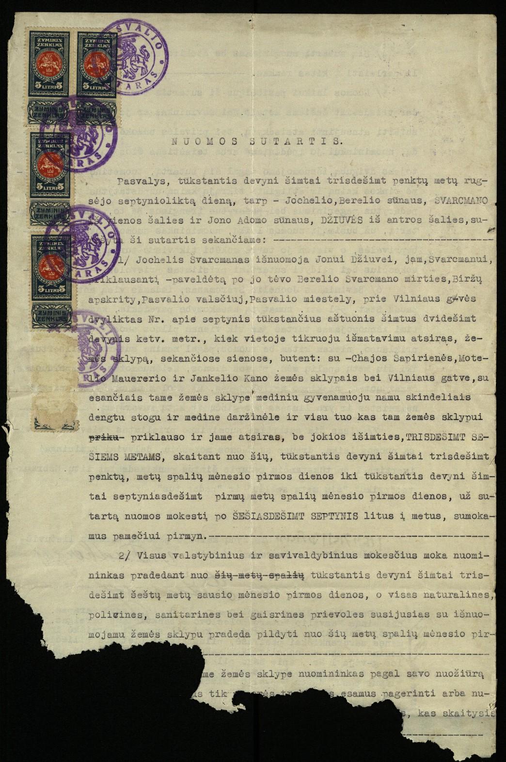 Jono Džiuvės nuomos sutartis, 1935 m. rugsėjo 17 d.