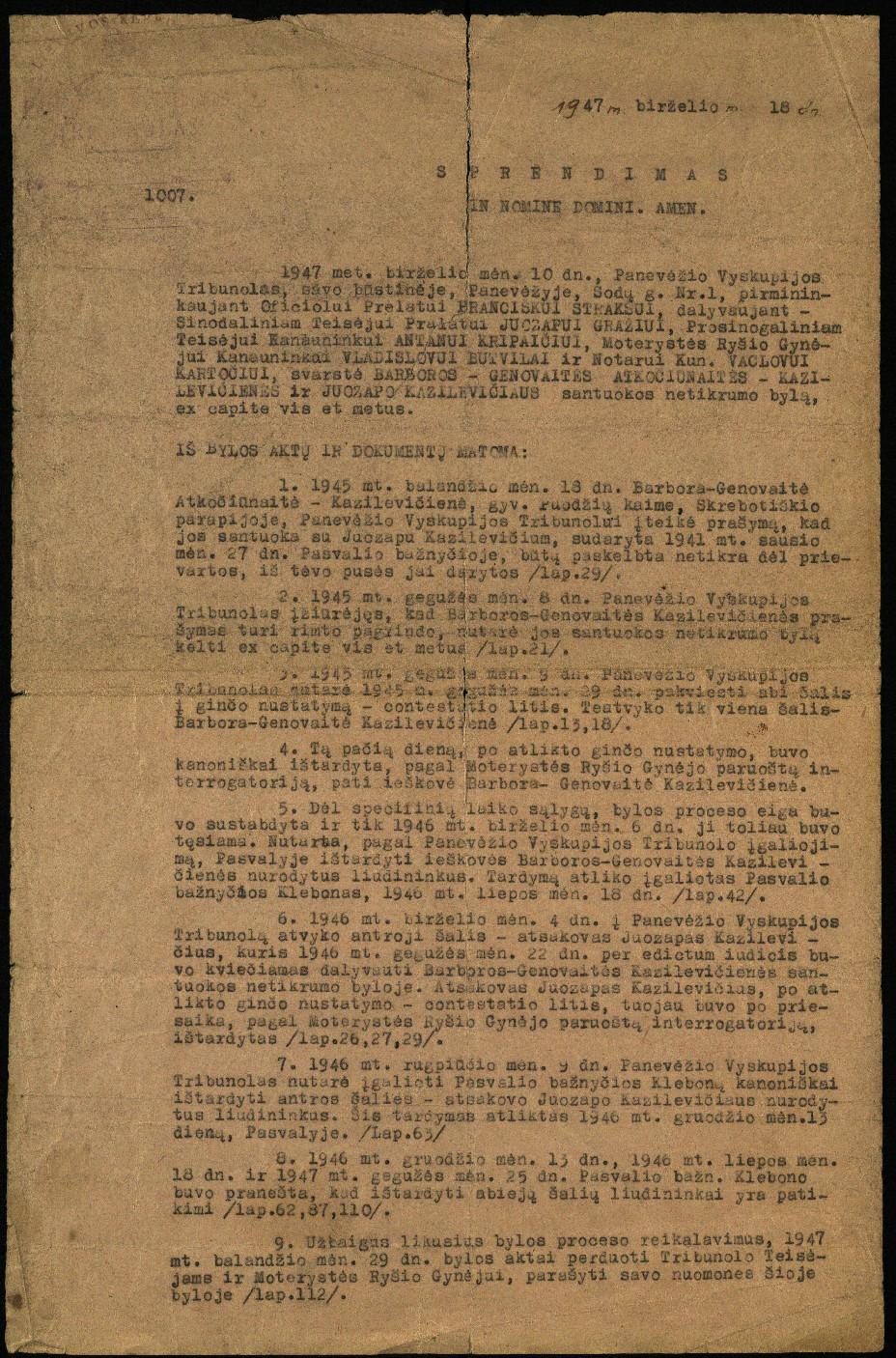 Panevėžio Vyskupijos Tribunolo sprendimas Genovaitės-Barboros Atkočiūnaitės-Kazilevičienės, gyv. Puodžių k., Skrebotiškio parapijoje, ir Juozapo Kazilevičiaus santuokos netikrumo byloje, 1947 m. birželio 18 d.