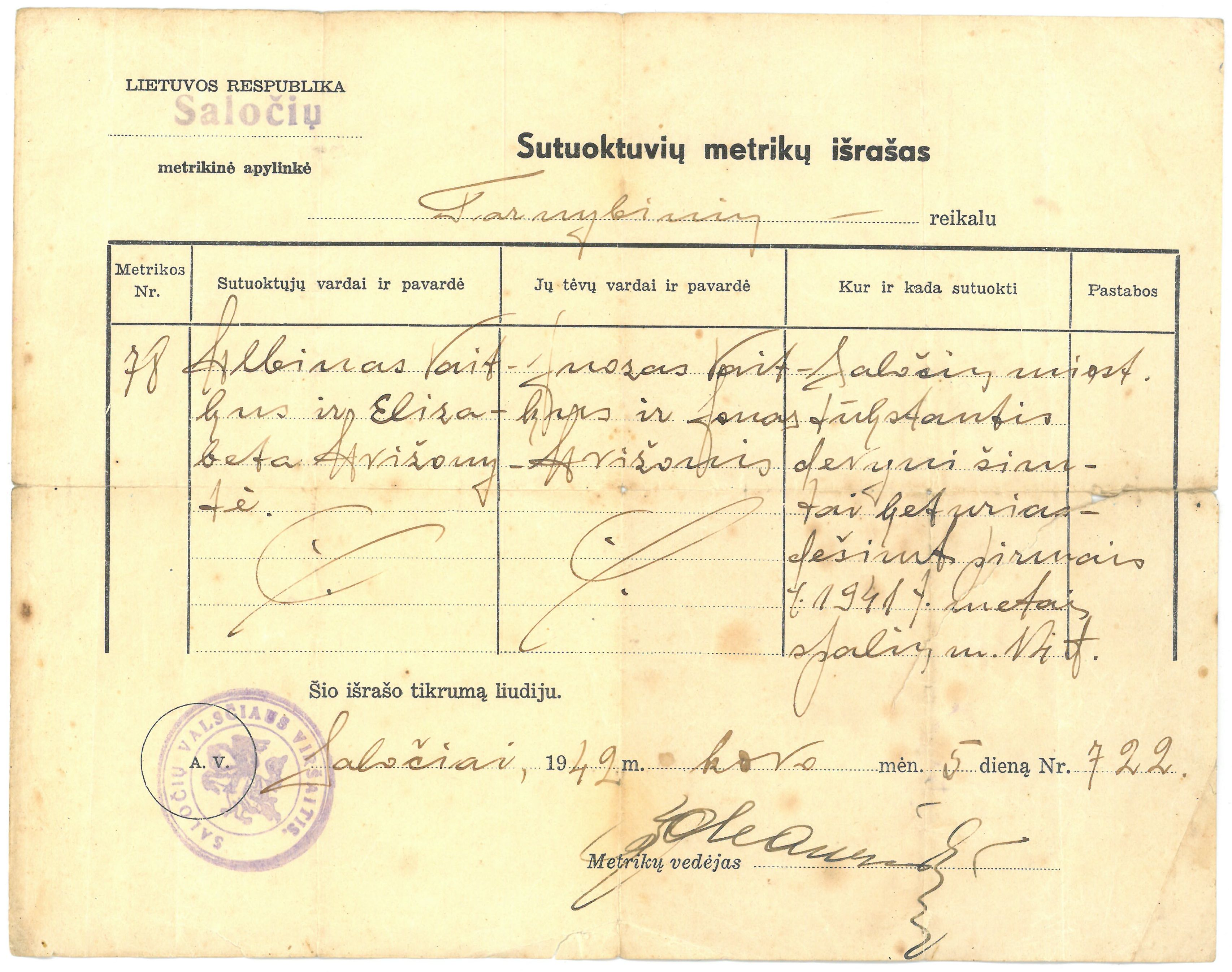 Albino Vaitkaus ir Elizabetos Avižonytės sutuoktuvių metrikų išrašas. Saločiai, 1942 m.