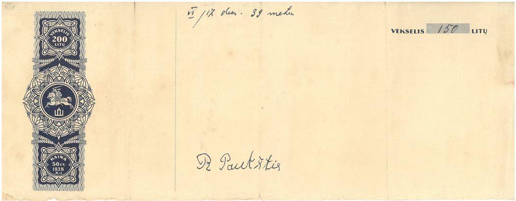 Vekselis. 150 litų vertės, 1939 m. birželio 17 d.