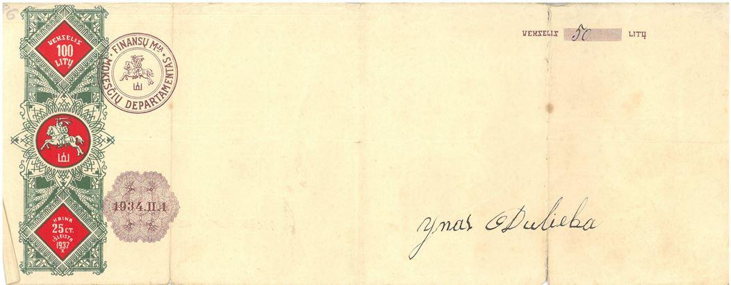 Vekselis. 50 litų vertės, 1934 m. vasario 1 d.