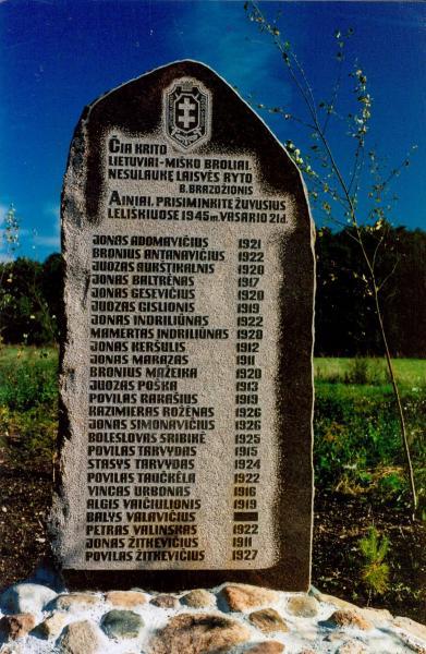 Paminklas Leliškių mūšyje žuvusiems partizanams