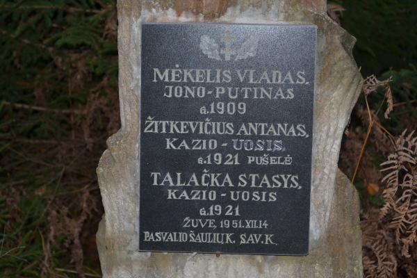 Kryžius Moliūnų miško bunkeryje žuvusiems partizanams Pasvalio rajone
